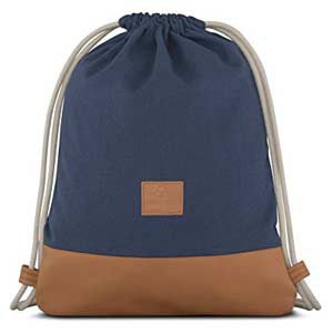 JOHNNY URBAN - Bolsa de algodón y cuero, azul y marrón