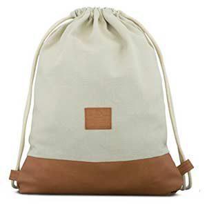 JOHNNY URBAN - Bolsa de algodón y cuero, beige y marrón