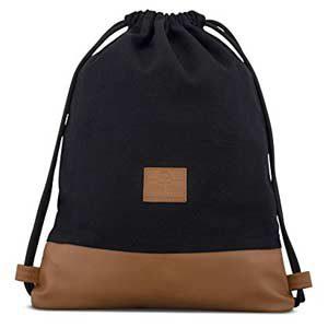 JOHNNY URBAN - Bolsa de algodón y cuero, negro y marrón