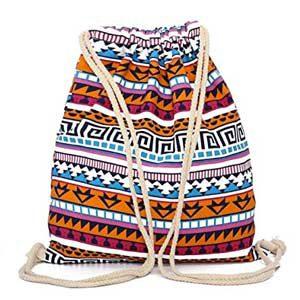 Mochila de tela con cordón tribal